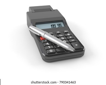 Calculator with pen isolated on white background. 3d illustration