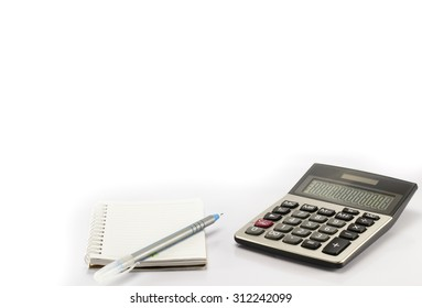 calculator and pen and notebook on white isolate background