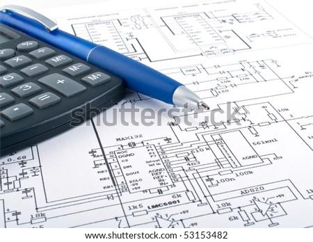 calculator pen on electrical diagram stock photo edit now 53153482 rh shutterstock com electrical motor winding diagram calculator electrical schematic calculator