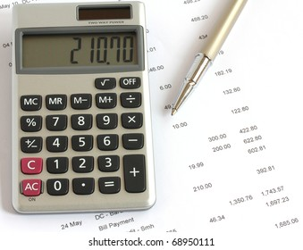 calculator and pen on financial data statement