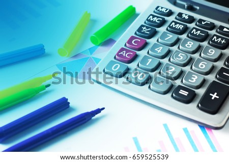 Calculator Pen On Graph Paper Financial Stock Photo Edit Now