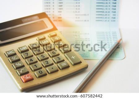Calculator Pen On Saving Account Book Stock Photo (Edit Now ...