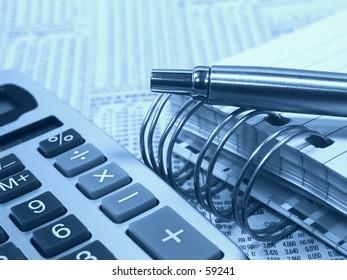 Calculator, Pen and Pad in Cyan