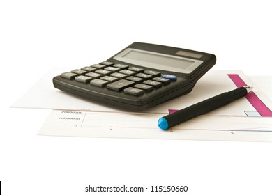 calculator, pen and paper on a white background