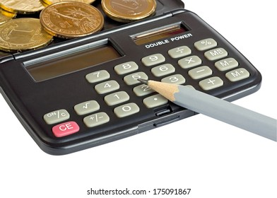 Calculator pencil and coins of different countries, one dollar (U.S.), one euro, one grivna (Ukraine). Close-up. Focus on keys.  Isolated on white background.