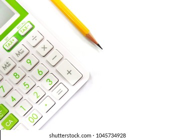 Calculator with pencil on white background