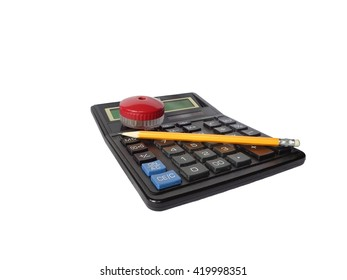 Calculator, pencil and sharpener isolated on white background