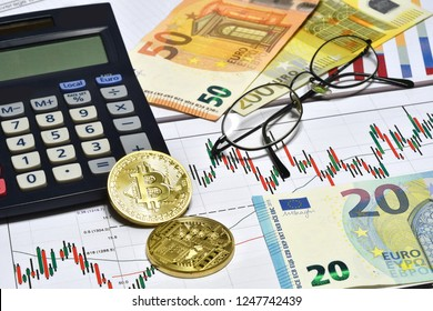 Calculator, phisical bitcoin, euro money with charts and glasses at office. Business concept