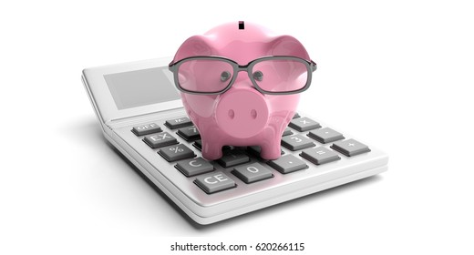 Calculator and piggy bank isolated on white background. 3d illustration