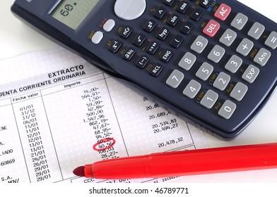 calculator, red pencil and a Invoice