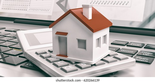 Calculator and a small house on a computer. 3d illustration