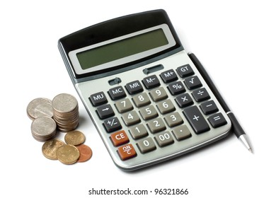 calculator, a stack of coins and pen isolated on white