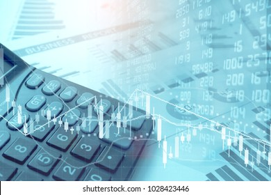 Calculator and Trading GRAPH on Spreadsheet Excel Research Financial Accounting Summary Analysis Report,  Double Exposure Business Financial Business DATA and STOCK MARKET Exchange Concept
