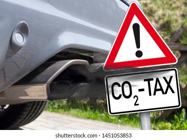 Calculator and traffic sign with CO2 Tax