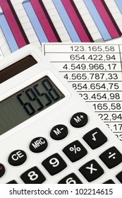 a calculator and various statistics in the calculation of the balance sheet, revenue and profit.