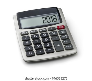 Calculator with the word 2018 on the display