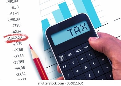 Calculator with the word Tax on the display
