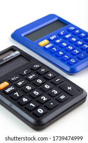 calculators hand use accounting in business purposes used isolated on the white background
