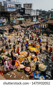 CALCUTTA, INDIA-MARCH 29, 2019 : People working in the flower market , 29 March  2019