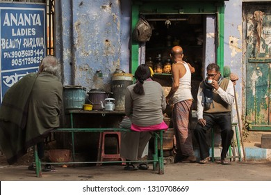 Calcutta (Kolkata), India- January 21, 2019: Traditional teahouse in the strrets of Calcutta.Massala tea ( chai)is very delicious and popular in India.They use milk,tea and ginger to prepare the tea.