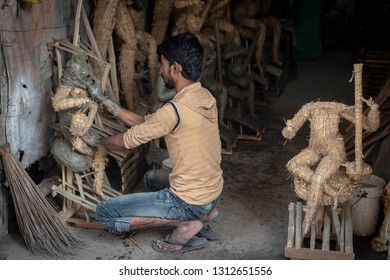 Calcutta ( Kolkata ),India-January 21, 2019:Traditional potters quarter known as Kumartuli in northern Kolkata.150 families live in this area, earning a living by sculpting idols for the festivals