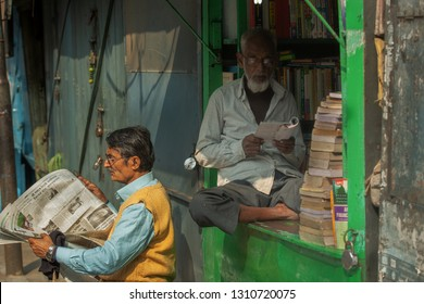 Calcutta (Kolkata),India-January 23,2019: Famous College street in Calcutta.It is full of book store and most of them are second hand book sellers.It is the largest book market also known as Boi Para.