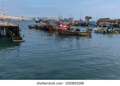 Caldera, Chile, March 15, 2018. Calm in the fishing port in northern Chile.
