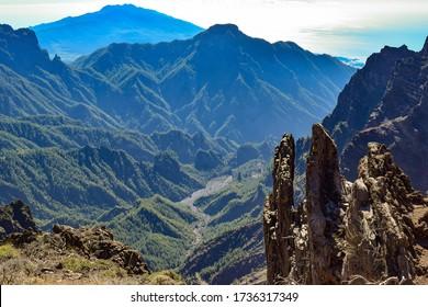 Caldera de Taburiente National Park amazing views from the top of volcano over the valley. Roque de los Muchachos, La Palma, Canary Islands