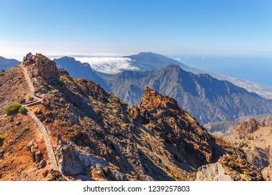 Caldera de Taburiente Natoional Park seen from Roque de los Muchachos Viewpoint, La Palma, Canary Islands