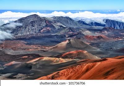 Caldera of the Haleakala volcano (Maui, Hawaii)  - HDR image