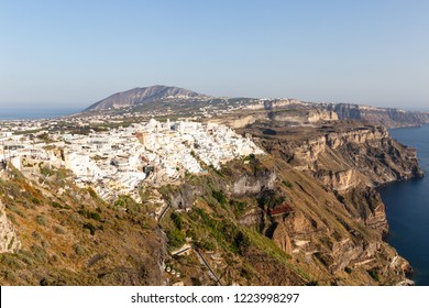 Caldera of Santorini island with view on Thira village, Cyclades of Greece.