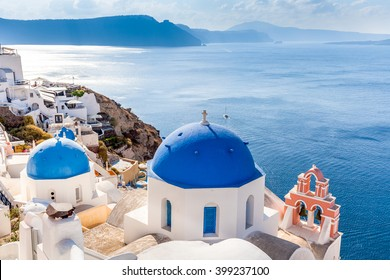 Caldera view and blue domes, Santorini island, Greece
