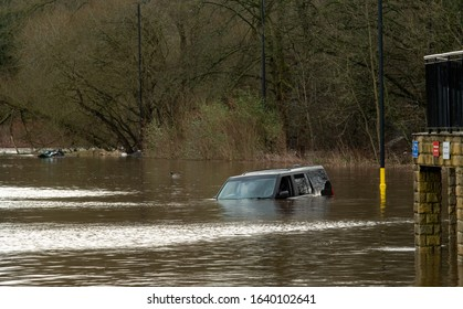 CALDERDALE - FEBRUARY 9: Storm Ciara causes flooding of the River Calder and damage to motor vehicles on February 9th 2020 in Calderdale.