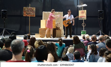 CALDES DE MONTBUI, SPAIN - MAY 5, 2018: Puppets Festival ROMA MARTI on May 5, 2018 and family and child audience.