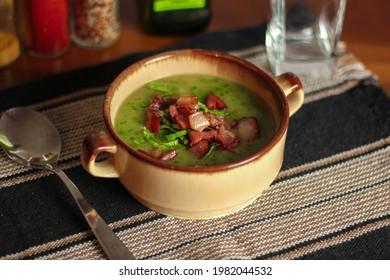 Caldo Verde portuguese soup with potatoes, collard and sausage