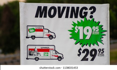 CALDWELL, IDAHO - MAY 19, 2018: Sign advertising for the UHAUL company advertising their trucks for rent