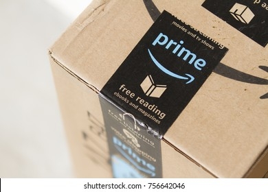 CALDWELL, IDAHO - NOVEMBER 4, 2017: Successful company amazon is shipping packages for delivery.