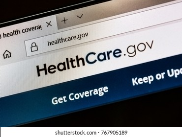 CALDWELL, IDAHO - NOVEMBER 4, 2017:healthcare.gov website under the trump administration