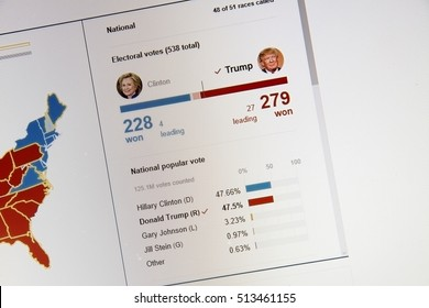 CALDWELL, IDAHO - NOVEMBER 9, 2016: Bing showing the electoral college votes as well as percentage of popular vote