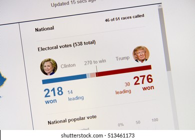 CALDWELL, IDAHO - NOVEMBER 9, 2016: Bing.com showing their election results just after trump passed 270 electoral college votes