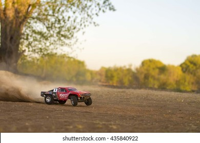 CALDWELL, IDAHO/USA - APRIL 19, 2016: Someone practicing with their TRAXXAS Slash RC car for the local races