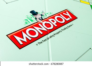 CALDWELL, IDAHO/USA - MARCH 16, 2015: Monopoly board Game opened up showing main logo