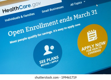 CALDWELL, IDAHO/USA - MARCH 9, 2014: Obamacare website showing that open enrollement is almost over.