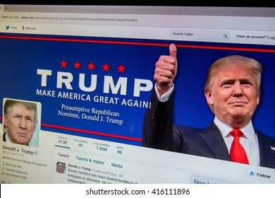CALDWELL, IDAHO/USA - MAY 5, 2016: Twitter website for possible Republican Nominee Donald Trump