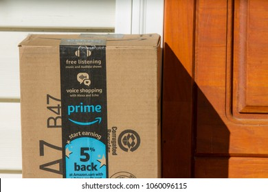 CALDWELL, IDAHO/USA - NOVEMBER 4, 2017: Amazon prime package has been delivered to a house