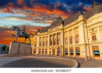 Calea Victoriei, National Library building. Bucharest, Romania at Sunset.