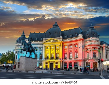 Calea Victoriei, The National Library. Romania, Bucuresti at Sunset.