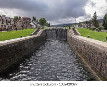 Caledonian canal lock gate Fort Augustus, Scotland, United Kingdom, May 2014