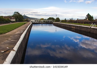 Caledonian Canal Locks in Inverness in Scotland. It is a 60miles long canal in Scotland that starts in Inverness and ends in Fort William connecting the east coast with the west coast.