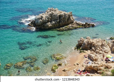 Calella beach in the summer
